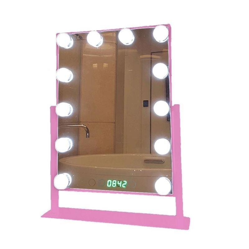 Aluminum Led Makeup Vanity Mirror With Light Bulbs Dimming Brightness